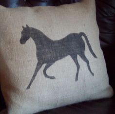 Burlap Horse Throw Pillow - DIY?