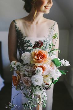 peach toned bouquet - photo by Lara Hotz http://ruffledblog.com/a-garden-greenhouse-wedding-in-australia #weddingbouquet #flowers #bouquets