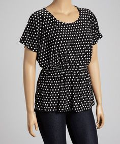 Look at this Black & White Polka Dot Cape-Sleeve Tunic - Plus Nice Dresses, Dresses For Work, Fashion Beauty, Womens Fashion, Full Figured, Playing Dress Up, Cool Outfits, Tunic, Black And White