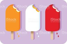 Three different colored bitten into ice cream pops royalty-free stock vector art Ice Cream Pops, Free Vector Art, Image Now, Different, Art Pieces, Royalty, Sweet, Illustration, Color