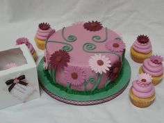 """Flower Birthday - This was done for a birthday brunch. round cake covered in fondant with fondant accents. The design is based on one done by PinkCakeBox. The cupcakes were used as favors - the tag on the box says """"Our friendship makes life sweeter. 40th Birthday Cakes, Birthday Brunch, Our Friendship, Cake Cover, Round Cakes, Fondant, Cake Decorating, Favors, Cupcakes"""