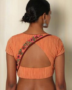 Buy Orange The Blouse Factory Handwoven Cotton Blouse with Embroidery gh Cotton Saree Blouse Designs, Simple Blouse Designs, Stylish Blouse Design, Saree Blouse Patterns, Designer Blouse Patterns, Blouse Neck Designs, Blouse Styles, Choli Designs, Kurta Designs