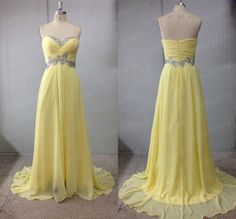 Yellow Prom Dresses Chiffon Prom Dresses Long Prom by QueensLove, $129.99