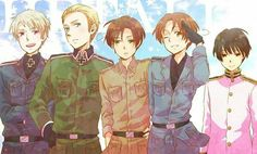 Axis! (Not sure if Gil and Lovi are part of it... MEH) Prussia, Germany, Romano, Italy and Japan-kun