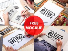 100 Free Hi Res Photorealistic Mockups. Here's one of them: Hand Drawn Sketch Mock Up by Mockup Zone
