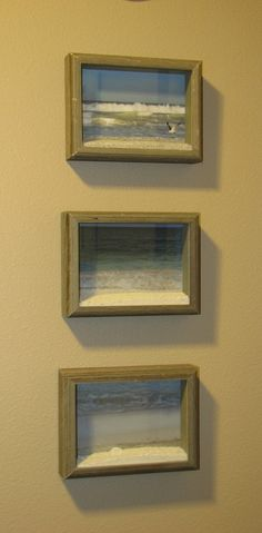 Vacation Shadow Boxes- collect some sand and take a picture from beaches visited. somenewcreations.com