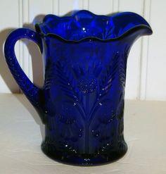 Vintage Blue Glass Cobalt Blue Mosser Glass Pitcher  In The Inverted Thistle Pattern-4412. $55.00, via Etsy.