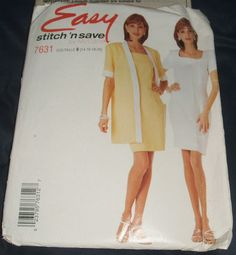 #McCalls Sewing #Pattern 7631 Uncut Misses Unlined #Jacket Semi Fitted Dress #Skirt Womens Size 14 16 18 20 Easy Stitch n Save #DIY #Fashion by ManHoard