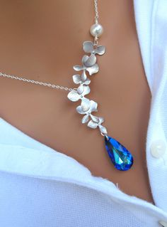 Peacock and Orchids sterling silver necklace. Bridal. Wedding. Bridesmaids Gift.