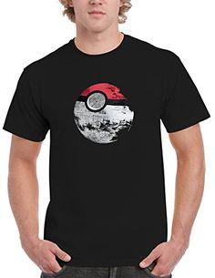 56ea02a2 BBT Mens Pokemon Star Wars Death Star T-shirt Tee L Black – Pokemon Tshirt  for Men