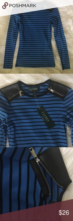 NWT Lauren Ralph Lauren long sleeve top Size petite small. NWT. Blue and white stripes with faux leather shoulders and zipper. Lauren Ralph Lauren Tops Tees - Long Sleeve