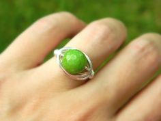 Green Agate Ring - Size 7 - Fresh Lime, Forest, Silver, Green, Classic, Spring, Jewelry Rings, Cocktail Rings, Stone Rings, Green Jewelry