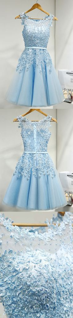 Outlet Distinct Short Light Blue Prom Homecoming Dresses With Mini Zipper Beaded/Beading Dresses