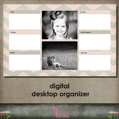 Digital Desktop Organizer with picture slots template for photographers OR small business etsy selle Small Business Organization, Desktop Organization, Craft Organization, Organizing, Office Makeover, Classroom Crafts, Sign Printing, Staying Organized, Slot