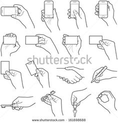 Hand collection - vector line illustration - Royalty-free Hand stock vector Hand Drawing Reference, Art Reference Poses, Hand Pose, Digital Painting Tutorials, Hand Sketch, Line Illustration, Drawing Base, Drawing Techniques, How To Draw Hands
