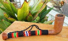 Old Xhosa woman's long-stem pipe with a beaded stem African Smoking Pipe