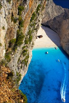 The amazing Navagio beach in Zakynthos island ~ Greece Beautiful World, Beautiful Places, Places To Travel, Places To Visit, European Tour, Secret Places, Santorini Greece, Ocean Life, Greek Islands