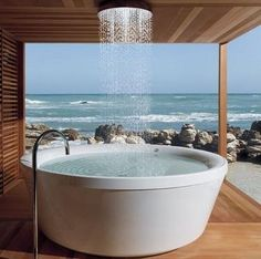 Tub, shower, view...Yes, please! #bathroom