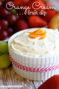 Fruit dipped in fruit dip is like candy to me.  This orange dip is good with every type of fruit I have tried it with - grapes, strawbe...