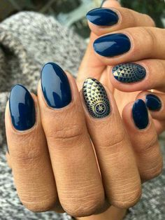 Navy with a gold marrocan design.