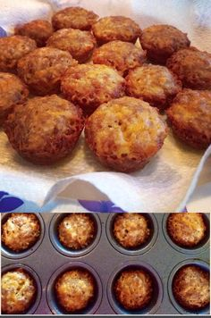 Kimmie's LC Sausage & Cheese Mini Muffins  Ingredients: 1. 1 lb. breakfast sausage, cooked and drained. 2. 1 C. shredded pepper jack cheese 3. 1 C. shredded cheddar cheese 4. 2 Tbsp. original flavored pork rinds, grind in food processor 5. 2 tsp. ground golden flax seeds 6. 2 eggs 7. 1 tsp. baking powder 8. Mrs. Dash garlic & herb seasoning blend, onion powder, salt & pepper to taste. Directions: Preheat oven 400F. Brown sausage, drain really good...I put a paper towel in a colander