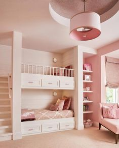 Beautiful Pink Theme Girls Bedroom THewowdecor We welcome you to our latest collection of 25 Unique Bunk Beds Design Ideas. Check out and get ready to see that wonderful smile on your child's face. Cute Bedroom Ideas, Cute Room Decor, Awesome Bedrooms, Cool Rooms, Bedroom Decor For Kids, Bed Ideas, Bunk Bed Designs, Girl Bedroom Designs, Design Bedroom