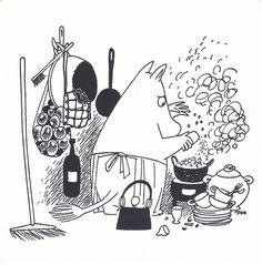 Can you smell what Moominmamma is cooking? Moomin Tattoo, Troll, Moomin Valley, Tove Jansson, Visual Diary, Black And White Illustration, Children's Book Illustration, Botanical Illustration, A Comics