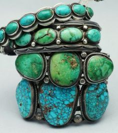 Navajo Indian hand-made silver and turquoise bracelets.