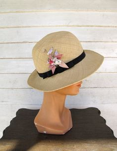 vintage 1970s straw hat / Halston womens hat by theragandbone, $42.00