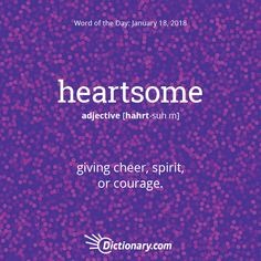 Today's Word of the Day is heartsome. Learn its definition, pronunciation, etymology and more. Join over 19 million fans who boost their vocabulary every day. The Words, Weird Words, Words To Use, Cool Words, Interesting English Words, Unusual Words, Learn English Words, Good Vocabulary, English Vocabulary Words