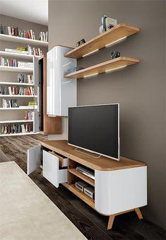 Meuble TV scandinave, composition murale scandinave, bois laqué brillant  blanc - coupdecoeur-design 342ae53b9e7f