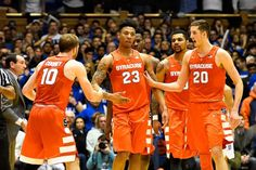The Syracuse University basketball team had their biggest win of the year as they defeated Duke 64-62 in Cameron Indoor Stadium on Monday night January 18, 2016. SU players congratulate teammate Malachi Richardson after Richardson dove for a loose ball helping the Orange preserve the win. Stephen D. Cannerelli |