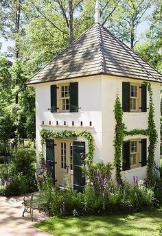 A beautiful two-story cottage in your backyard would be perfect for a guest house or an art studio! What would you use this backyard cottage for? French Cottage Garden, Cozy Cottage, Backyard Cottage, White Cottage, Fairytale Cottage, Cottage Style, Backyard Retreat, Cottage House, Storybook Cottage