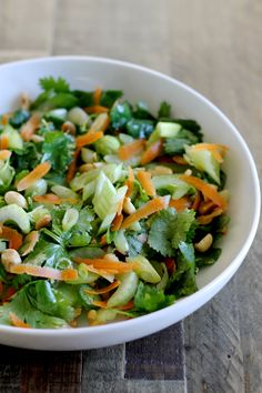 This Thai Celery Salad with Cilantro, Carrots, Scallions, and Peanuts is vegan and gluten-free. Fresh herbs make the base of this delicious Asian-inspired salad. ll www.littlechefbigappetite.com ll Thai Salad, Vegan Salad, Healthy Salad, Vegetarian Salad, Asian Salad, Salad with Carrots, Salad with Peanuts, Easy Salad, Gluten-Free Recipe, Gluten Free Dinner, Gluten Free Lunch, Healthy Gluten Free