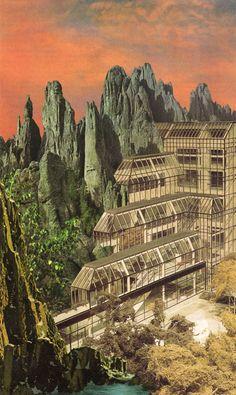 Jeffrey Meyer, Model Utopia (2014), paper collage, 8 x 13 inches | website | buy/donate.