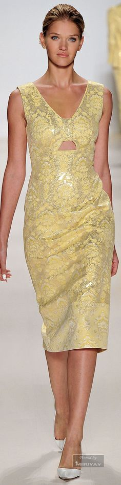 Erin Fetherston ~ Spring Silver Metallic + Creamy Canary Print Dress w Sweet Heart Neckline 2015.