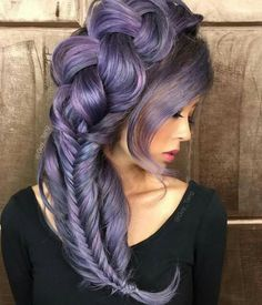 Jaw-dropping Eye-popping violet lavender lilac color melt and exquisite braided style by lavender hair Violet hair lilac hair color braids Lavender Hair, Lilac Hair, Ombre Hair, Violet Hair Colors, Hair Color Purple, Pastel Purple, Lilac Color, Purple Streaks, Pastel Colors