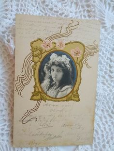 Art Nouveau embossed postcard with lady's real photo portrait, flowers 1904 Vintage Beauty, Art Nouveau, Portrait, Flowers, Headshot Photography, Portrait Paintings, Royal Icing Flowers, Drawings, Flower