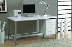 "White Hollow-Core / Silver Metal 60""L Office Desk"