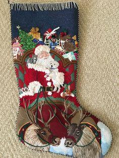 Needlepoint Designs, Needlepoint Stitches, Needlepoint Canvases, Needlework, Embroidered Christmas Stockings, Needlepoint Christmas Stockings, Xmas Stockings, Santa Stocking, Felt Stocking