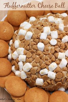 Fluffernutter Cheese Ball. A delicious dessert appetizer dip that combines the flavors of peanut butter and marshmallow.
