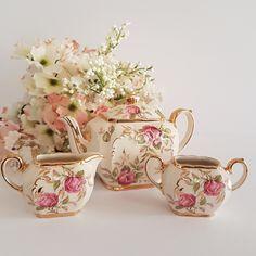 Antique China, Vintage China, English Teapots, Vintage Antiques, Vintage Teapots, Gold Crown, Cream And Sugar, Rose Buds, Hummingbird