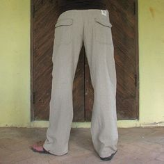 Product: Mens hemp pants. Brand: Cocoricooo on Etsy.com. Price $49. Positive Attributes: Made with organic hemp and cotton.