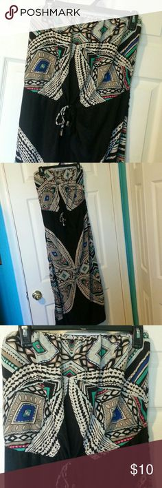 SEXY STRAPLESS DRESS Ankle length with side slit on both sides. Black with multi color's.  Polyester.  Like new Dresses Strapless