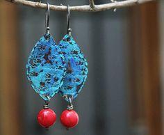 Copper earrings Patina copper earrings Patina jewelry