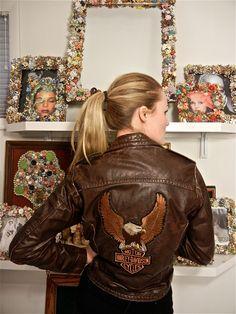 70s Distressed Leather Harley Davidson Bomber Jacket.