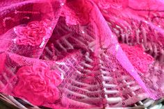 150 x 50 cm Hot pink 3D sequence lace fabric I 3D lace fabric I Lace fabric I…