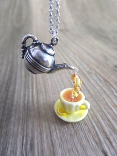 Chamomile Tea Jewelry Necklace, Tea Charms, Yellow Cup, Cottage Chic Tea, Honey Lemon, Teapot, Gift for Her
