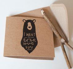 Bear Hug Greeting Card /// haha il faut trop que j'en fasse une!