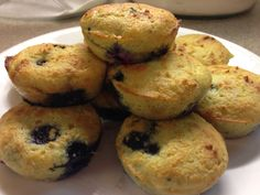 Mrs. Criddle's Blueberry Muffins.... low carb.... THM-S Yields 24.... Ingredients....     1 cup of coconut flour....      8 eggs room temp....     1/3 cup of THM Sweet Blend....      1- 8 oz package of cream cheese (room temp)....      3/4+ cup of butter (room temp) ....     1 tsp vanilla....     1/2 tsp of almond extract, (opt) ....     1 tsp salt....      1 tsp baking soda...      2 cups of froze blueberries.